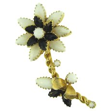 Signed Hope Chest flower Brooch with black and white stones