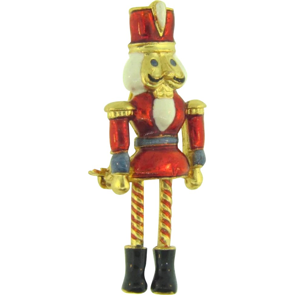 Signed Vero figural nutcracker Christmas Brooch with dangling legs ...