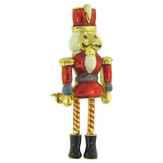 Signed Vero figural nutcracker Christmas Brooch with dangling legs