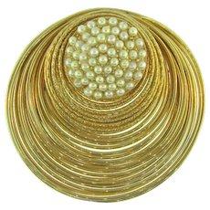 Unusual vintage circular Brooch with imitation pearls