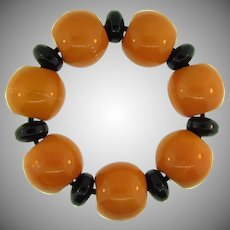 Chunky stretch Bracelet with Bakelite beads and spacers