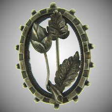 Small early sterling silver floral Brooch