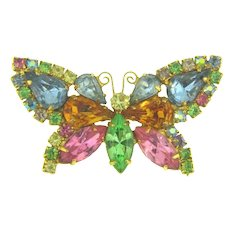 Vintage colorful rhinestone figural butterfly Brooch