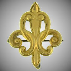 Vintage stylized Fleur-de-Lis gold filled Watch Pin