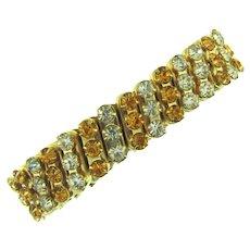 Vintage expansion Bracelet with light topaz and crystal rhinestones