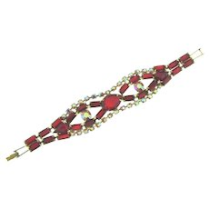 Vintage 1960's bright red and pink rhinestone Bracelet