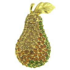 Signed Monet small rhinestone figural pear Scatter Pin