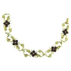Vintage 1960's link Bracelet with purple rhinestones