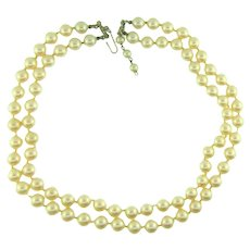 Vintage double strand imitation pearl choker Necklace