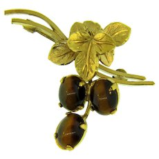 Signed Wells gold filled small Brooch with tiger eye stones