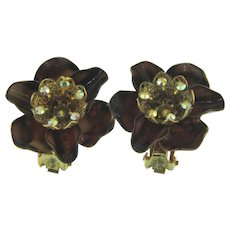 Vintage enamel and rhinestones clip back Earrings