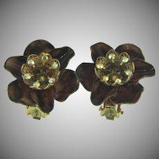 Vintage enamel and rhinestones clip back Earrings