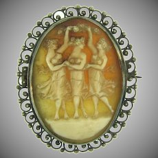 Antique  three muses shell Cameo in silver tone frame