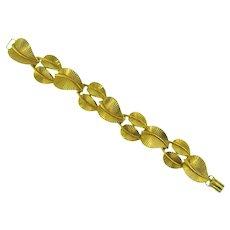 Signed Floralia gold tone link Bracelet of leaves