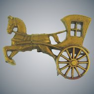 Vintage celluloid horse and carriage Brooch with gold tone finish