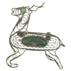 Marked 950 small silver wire figural deer brooch