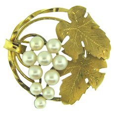 Signed 12kt gold filled IPS circular Brooch with grape cluster of real pearls