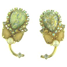 Signed Hobe clip back Earrings with green iridescent cabochons, AB stones, imitation pearls, tear drop stones