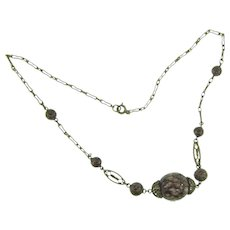 Vintage choker Necklace with art glass beads