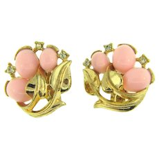 Signed Trifari clip back Earrings with pink cabochons and rhinestones