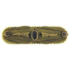 Small vintage Bar Pin with amethyst colored paste stones