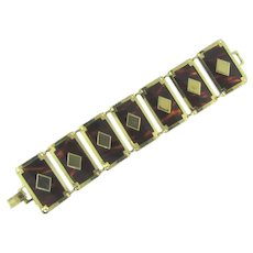 Signed Leru wide link Bracelet with faux tortoise panels