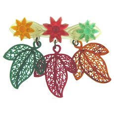 Early plastic celluloid colorful Brooch with dangling leaves