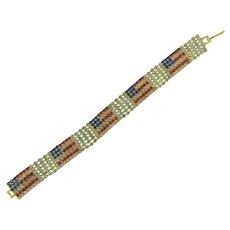 Vintage patriotic American flag rhinestone Bracelet