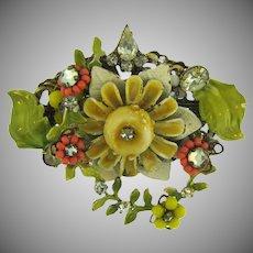 Vintage floral enamel Brooch with rhinestones and beaded flowers