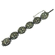 Unusual vintage heavy silver tone link Bracelet