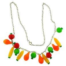 Vintage novelty plastic vegetable charm Necklace