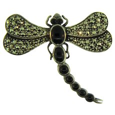 Marked 925 silver figural dragonfly Brooch with onyx and marcasites