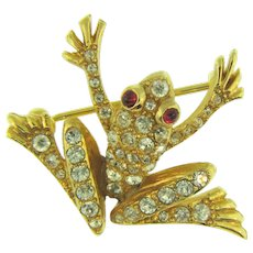Signed Jomaz small figural frog Brooch with rhinestones