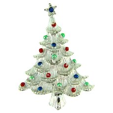 Signed Gerry's silver tone Christmas tree Brooch