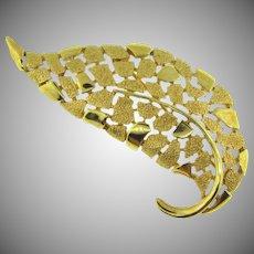 Signed Crown Trifari stylized gold tone leaf Brooch