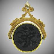Vintage revolving pendant/fob with floral design jet insert