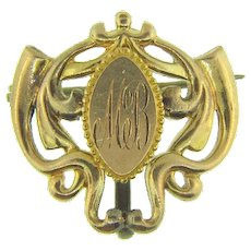 Signed P.S.Co. gold filled Watch Pin with initials MB
