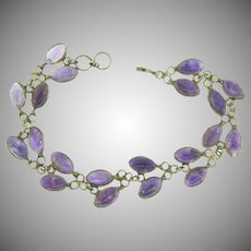 Art and Crafts style link Bracelet with genuine amethyst stones