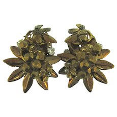 Signed DeMario gorgeous large metallic brown clip back Earrings
