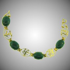 Vintage link Chinese style Bracelet with jade stones