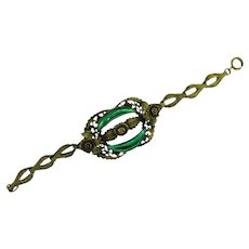 Early 1900's link Bracelet with Vauxhall glass stones