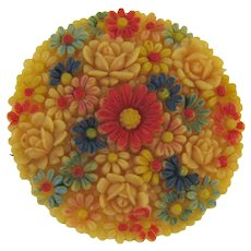 Vintage tinted celluloid floral Brooch