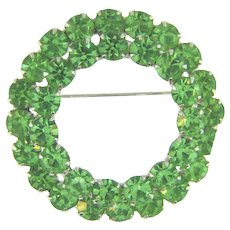 Vintage double circle green rhinestone Brooch