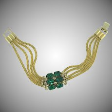 Vintage 1950's mesh Bracelet with center emerald green and crystal rhinestone attachment
