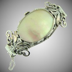 Vintage  clamper Bracelet with large Mother of Pearl stone