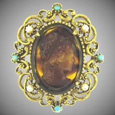 Signed Florenza Brooch with faux tortoise shell cameo, turquoise glass beads and imitation pearls