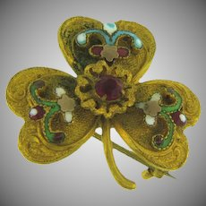 Vintage early shamrock Scatter Pin with enamel,rhinestone and beads