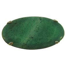 Vintage large oval green agate stone Brooch in silver tone frame