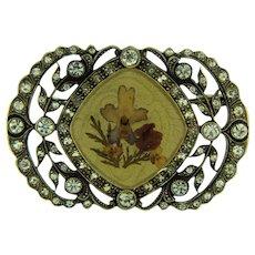 Vintage rhinestone Brooch with flower scene