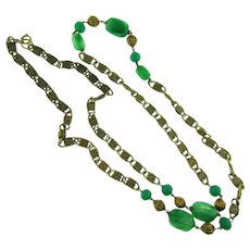 Vintage long heavy chain Necklace with green glass beads
